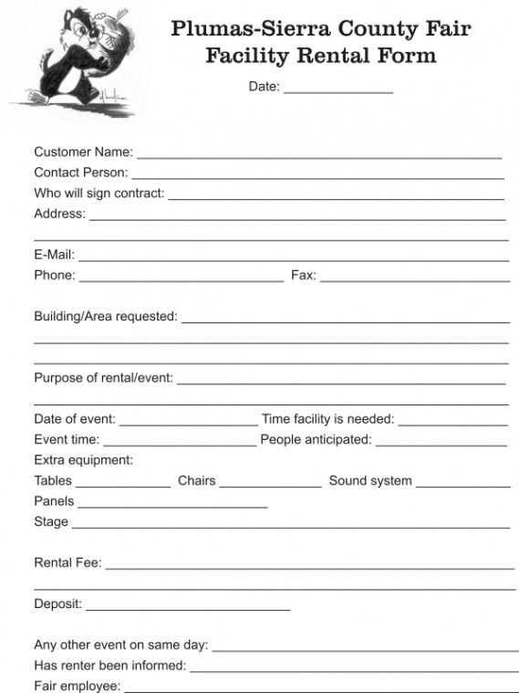 Facility Rental Form - - facility rental contract Legal - format rent receipt