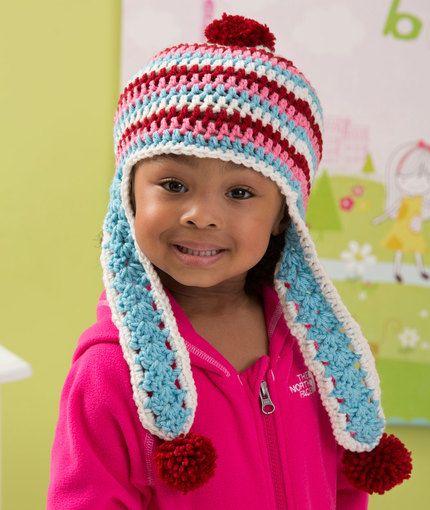 Snowy Day Earflap Hat Free Crochet Pattern from Red Heart Yarns ...