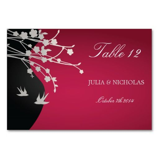 modern red black wedding table number table cards with
