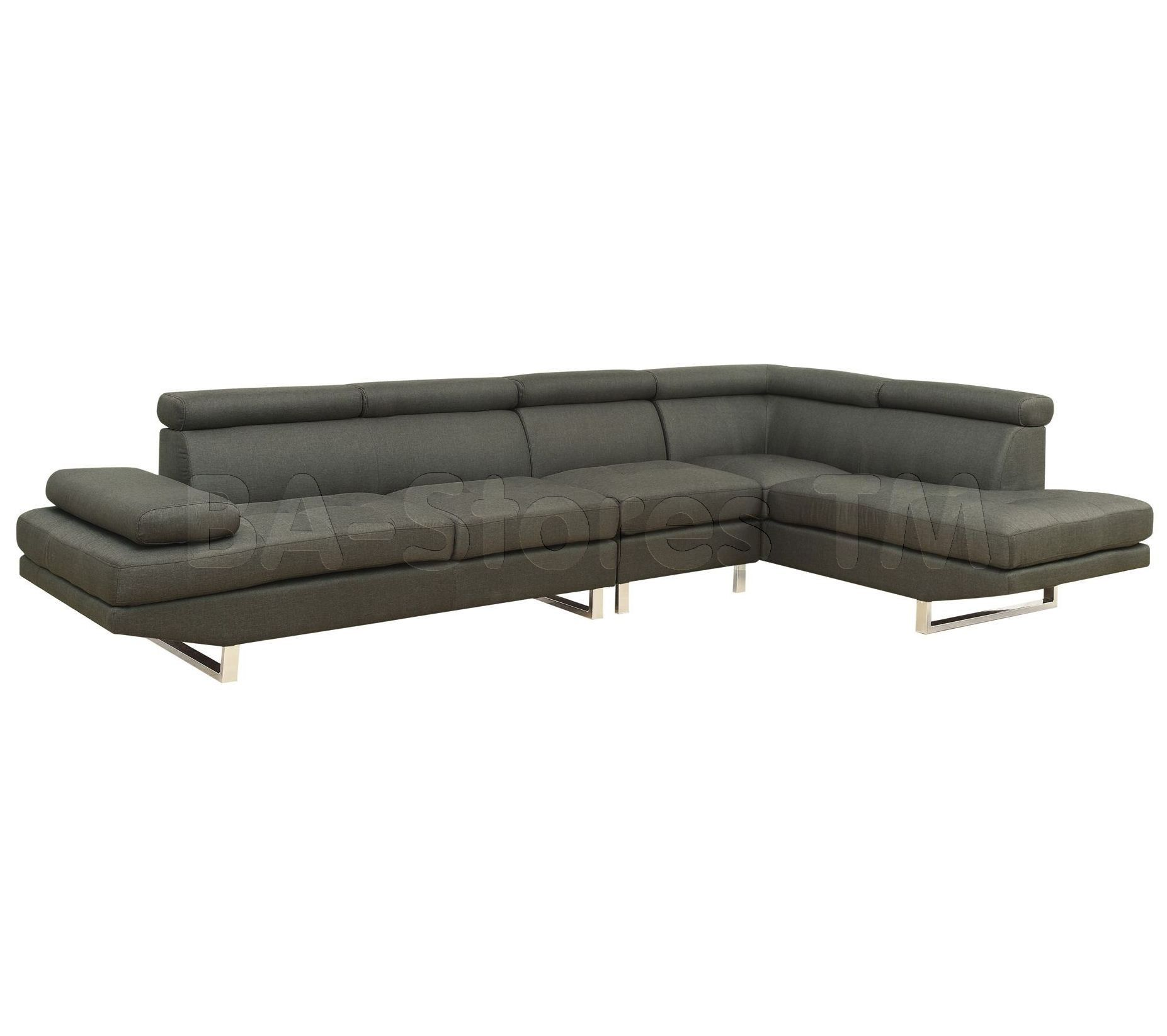Piper Grey Fabric Sectional with Adjustable Headrests