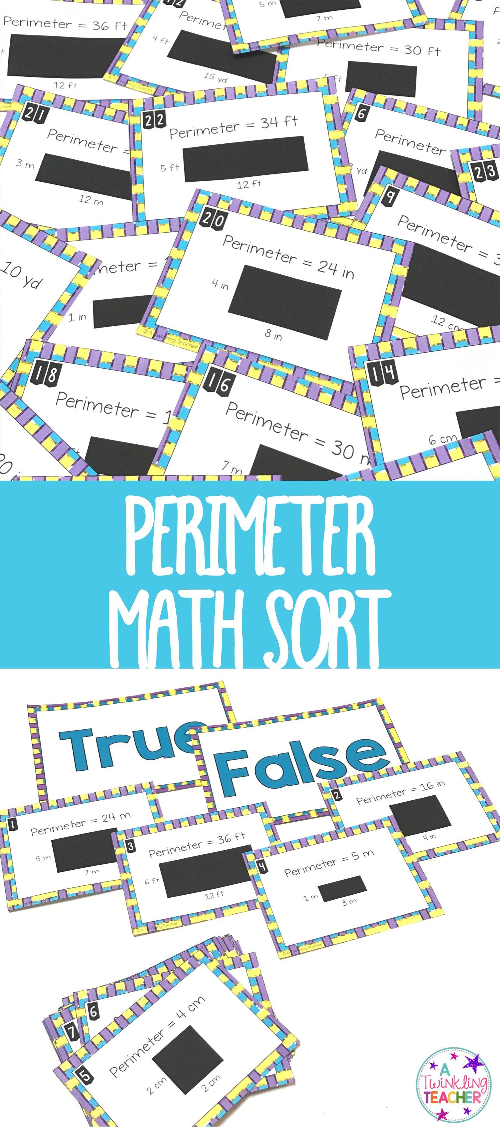 Perimeter true false math center sort | Math, Teacher and Activities