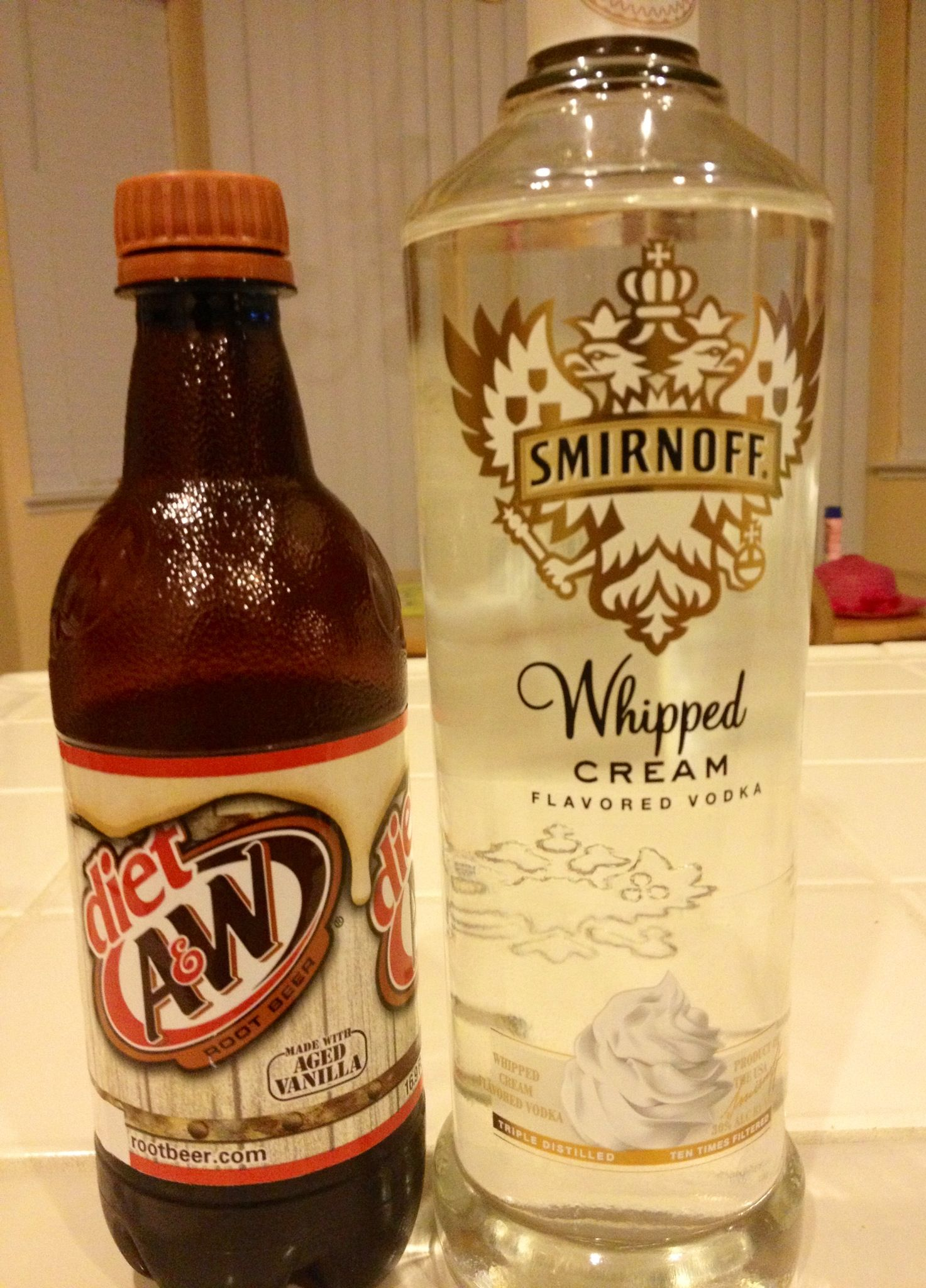 Tastes just like a root beer float! Smirnoff whipped cream vodka and