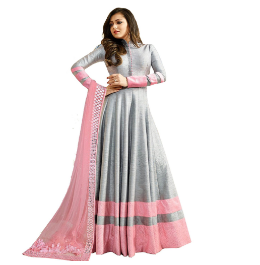 This Is An Elegant Look Floor Length Grey And Pink Color Combination Of Salwar Suit A Semi Sched Free Size Dress It Has Smooth