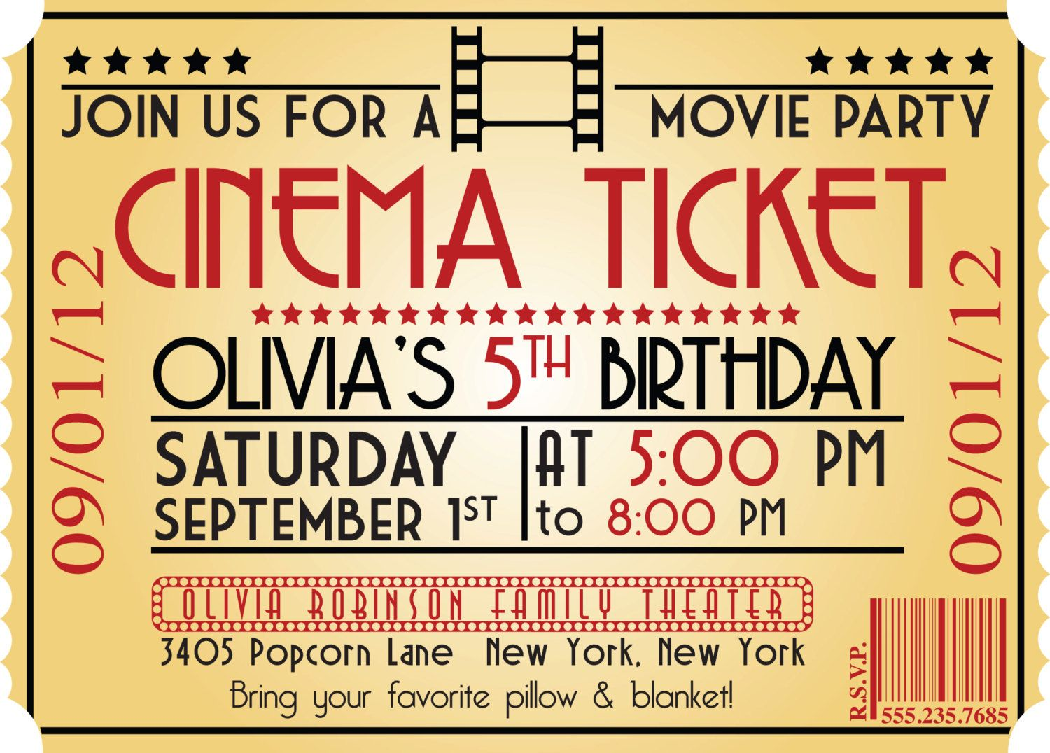 MOVIE NIGHT Birthday Party Themed Invitation – Ticket Style Birthday Invitations
