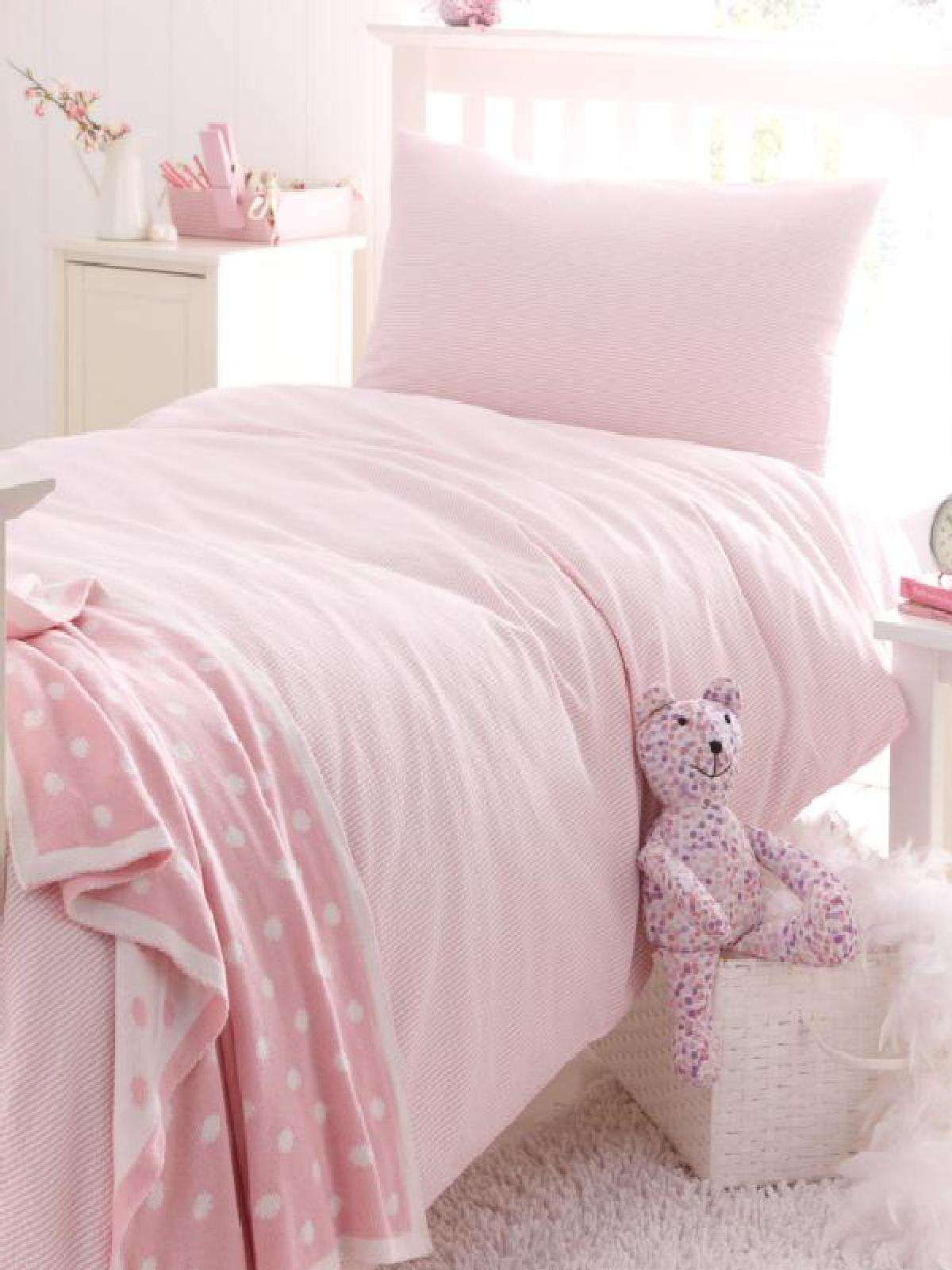 Hiccups Pink and White Stripe Seersucker Single Duvet Cover Set