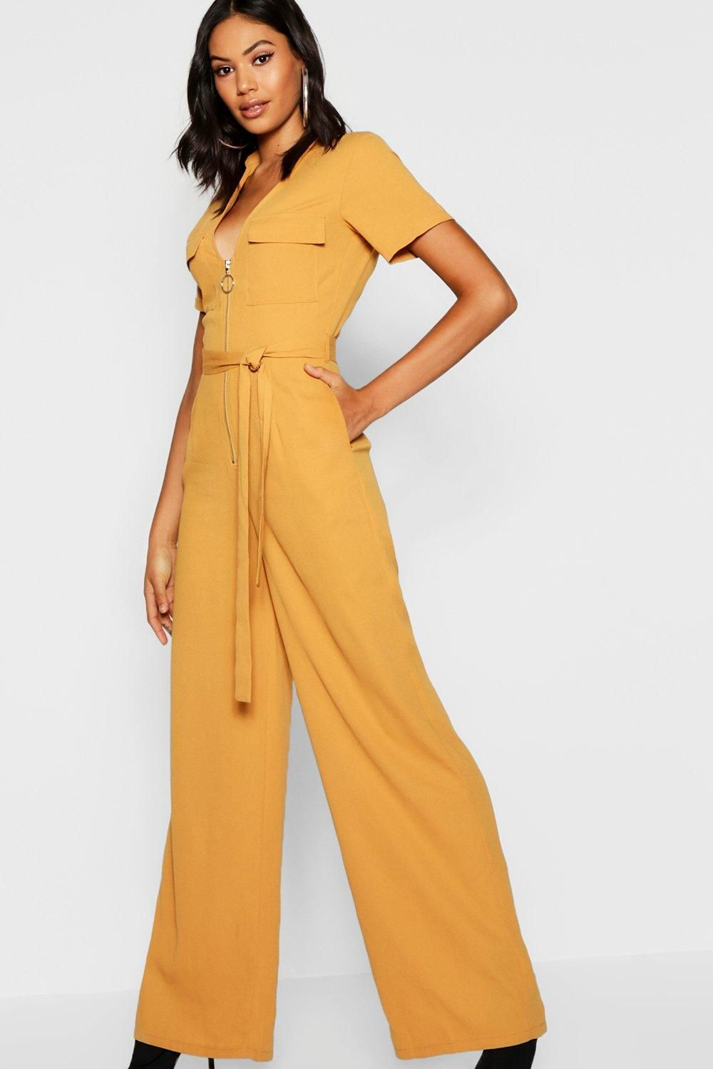 70edab8eb5c1 Click here to find out about the Utility Cargo Zip Front Wide Leg Jumpsuit  from Boohoo