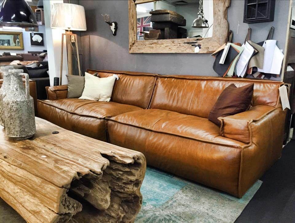 Lounge bank le noir in cognac da silva leer modern