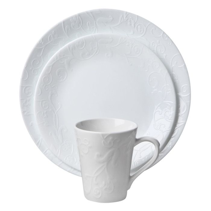 corelle embossed bella faenza 16-pc dinnerware set | wish list