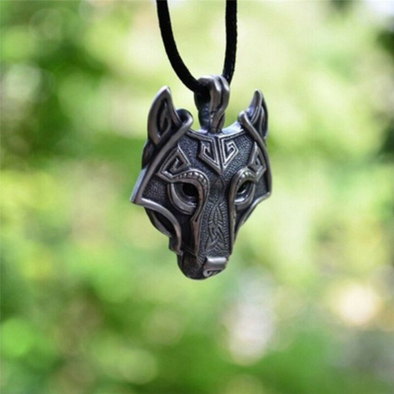 Valknut Vikings Amulet Pendant Necklace Norse Wolf Head Necklace Original Animal