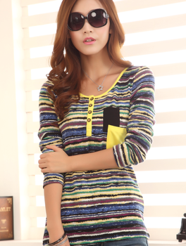 12.55 euro incl shipping 6232 2013 autumn women's color stripe o-neck long-sleeve T-shirt female