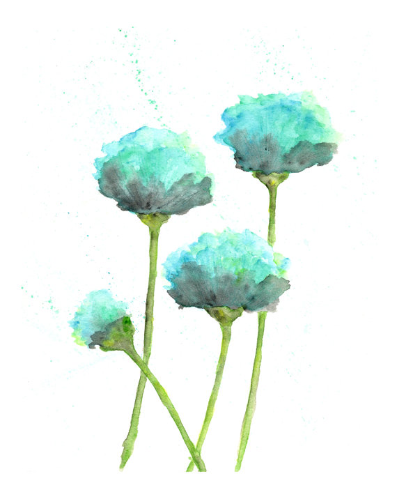 Watercolor Flower Painting Watercolor Poppies Flower Art Abstract Flower Painting Poppy Painting Mint Green Blue Modern 8x10 In 2020 Poppy Painting Watercolor Flowers Paintings Poppy Flower Art