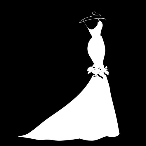 Dress Silhouettes Beautiful Wedding Silhouette Design Vector 01