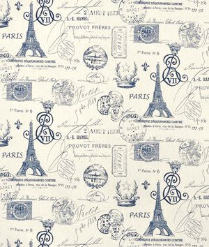 French Stamp Fabric For Decorating Shop Premier Prints Sunshine Navy Natural at