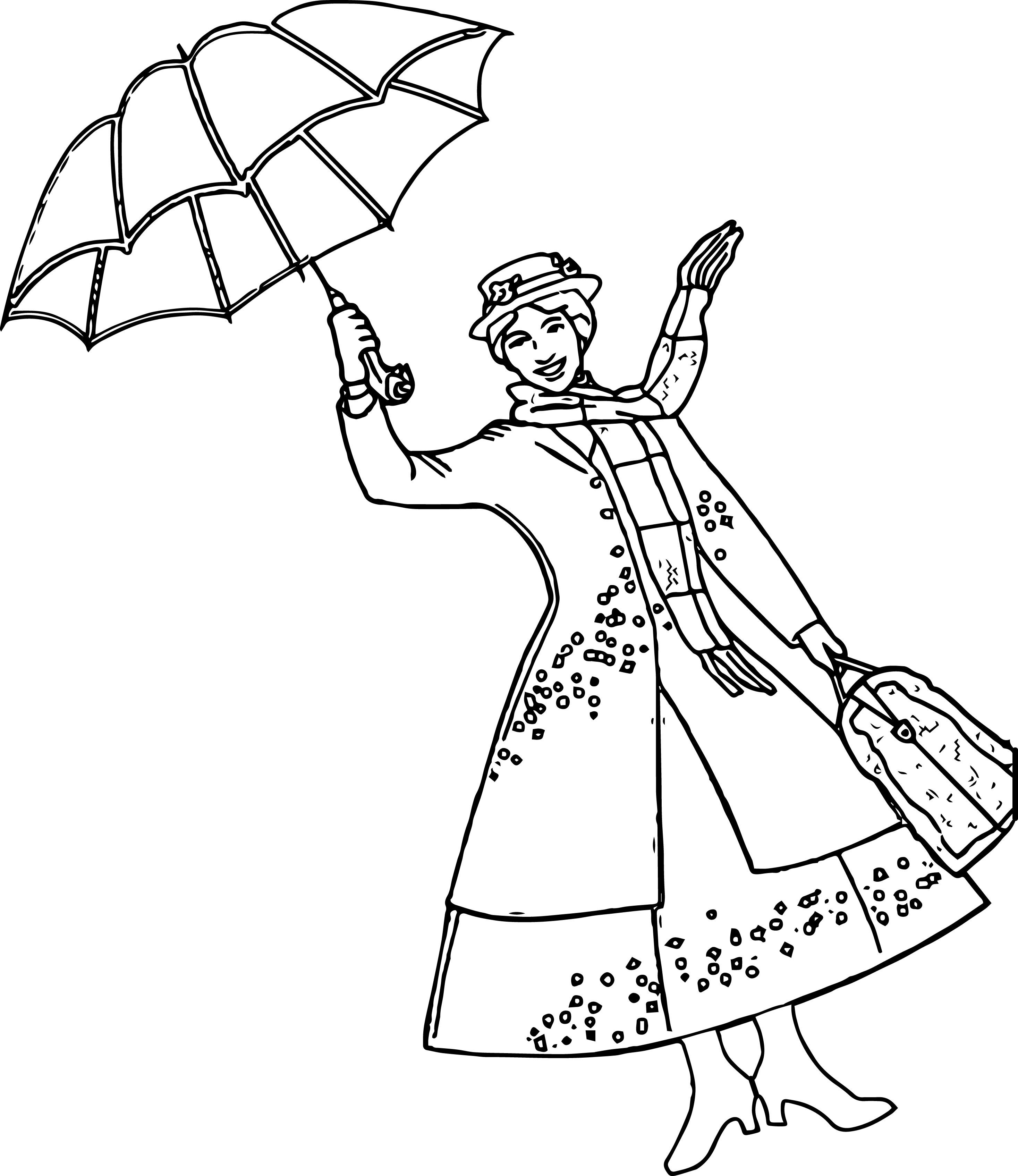 Mary-Poppins-Girl-Umbrella-Coloring-Page.jpg (2934×3389) | Раскраска ...