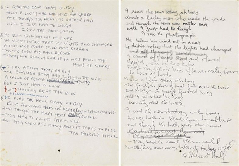 John Lennon S Handwritten Lyrics For A Day In The Life With
