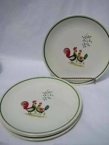 Set of four old rooster pattern plates cute! & 1940s pottery dinner plates folk art rooster pattern vintage ...