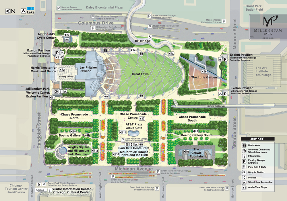 Free Parking Chicago Map.Millennium Park Map Summer Music Series Free Thursday And Monday