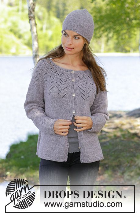 Agnes Knitted Jacket With Round Yoke In Drops Sky Piece Is