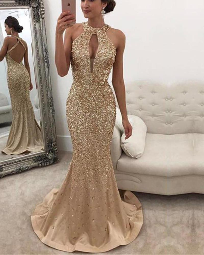 Halter Heavy Beading Glitter Prom Dresses Mermaid Open Back