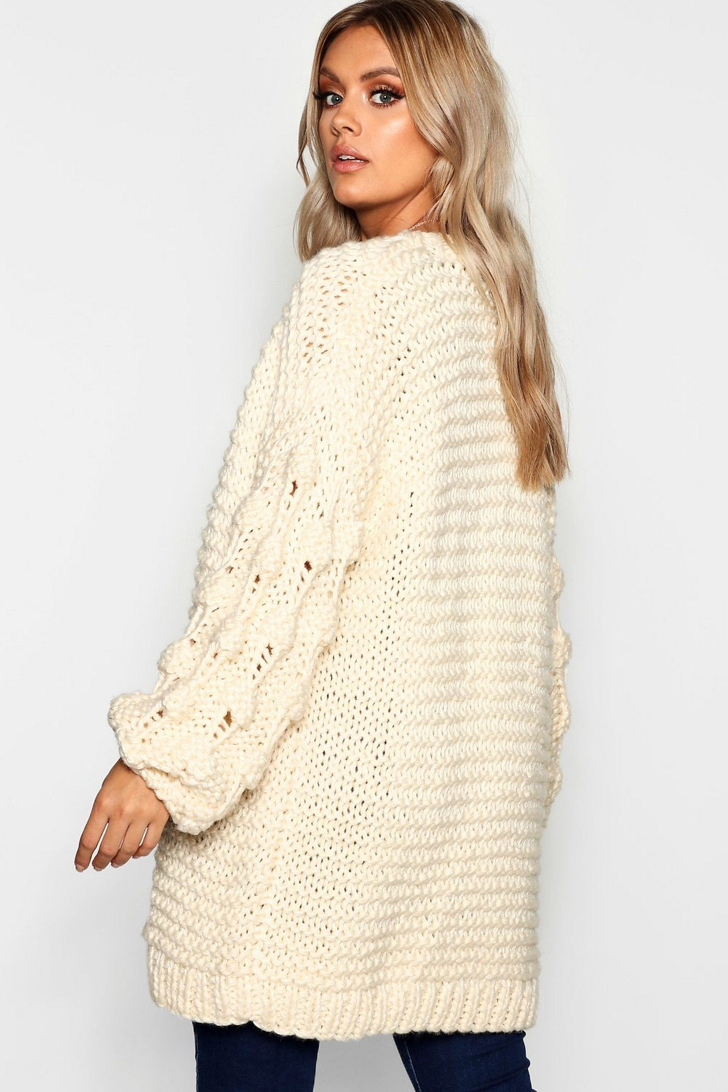 Plus Oversized Hand Knitted Chunky Cardigan | boohoo