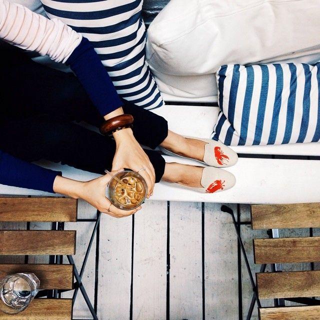 mariner stripes, stubbs  wootton slippers.