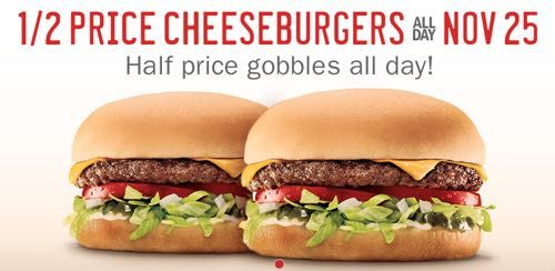 Half Price Cheeseburgers All Day On Tuesday November 25th At Sonic Restaurant Deals Burger And Fries Sonic Drive In