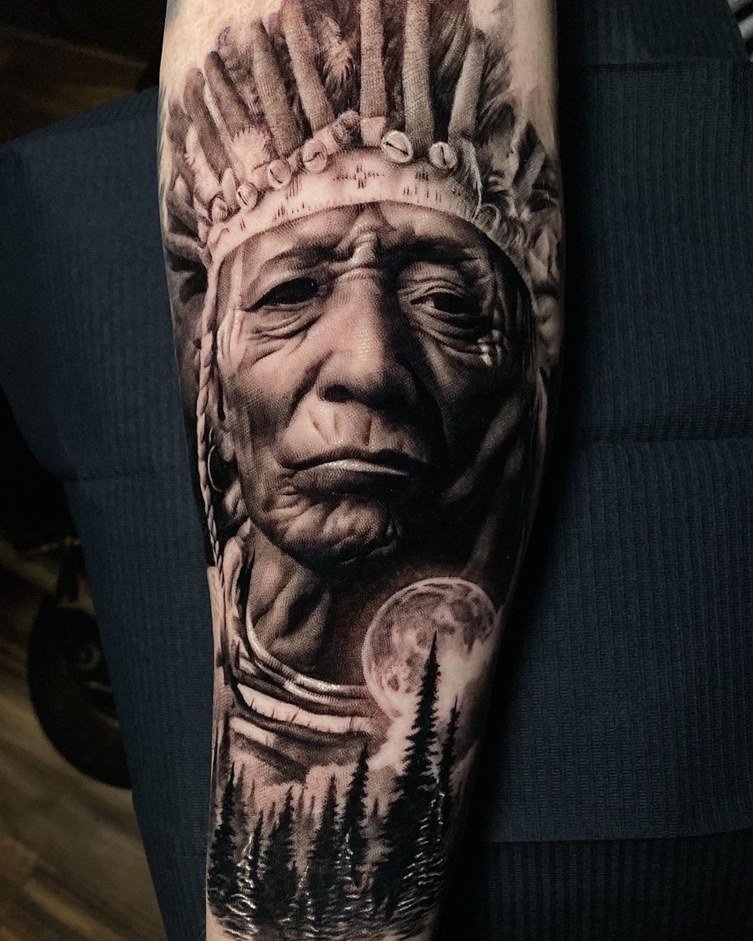 Indian Chief Artist Ashhighamtattoo Country Uk Follow Skingiants For In 2020 Chest Tattoo Men Tattoos Black And Grey Tattoos