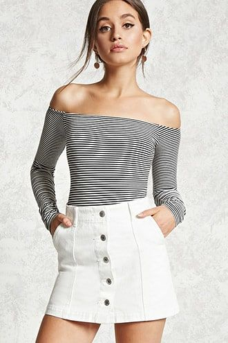 04507ed6e89b Button-Down Denim Skirt Button Up Skirt Outfit, Button Down Denim Skirt,  White