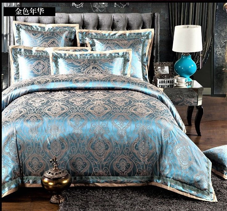 Luxury 4pc Dark Aqua Gray Jacquard Silk King Queen Cotton Duvet Cover Set Bed Linens Luxury Bedding Sets Duvet Bedding Sets