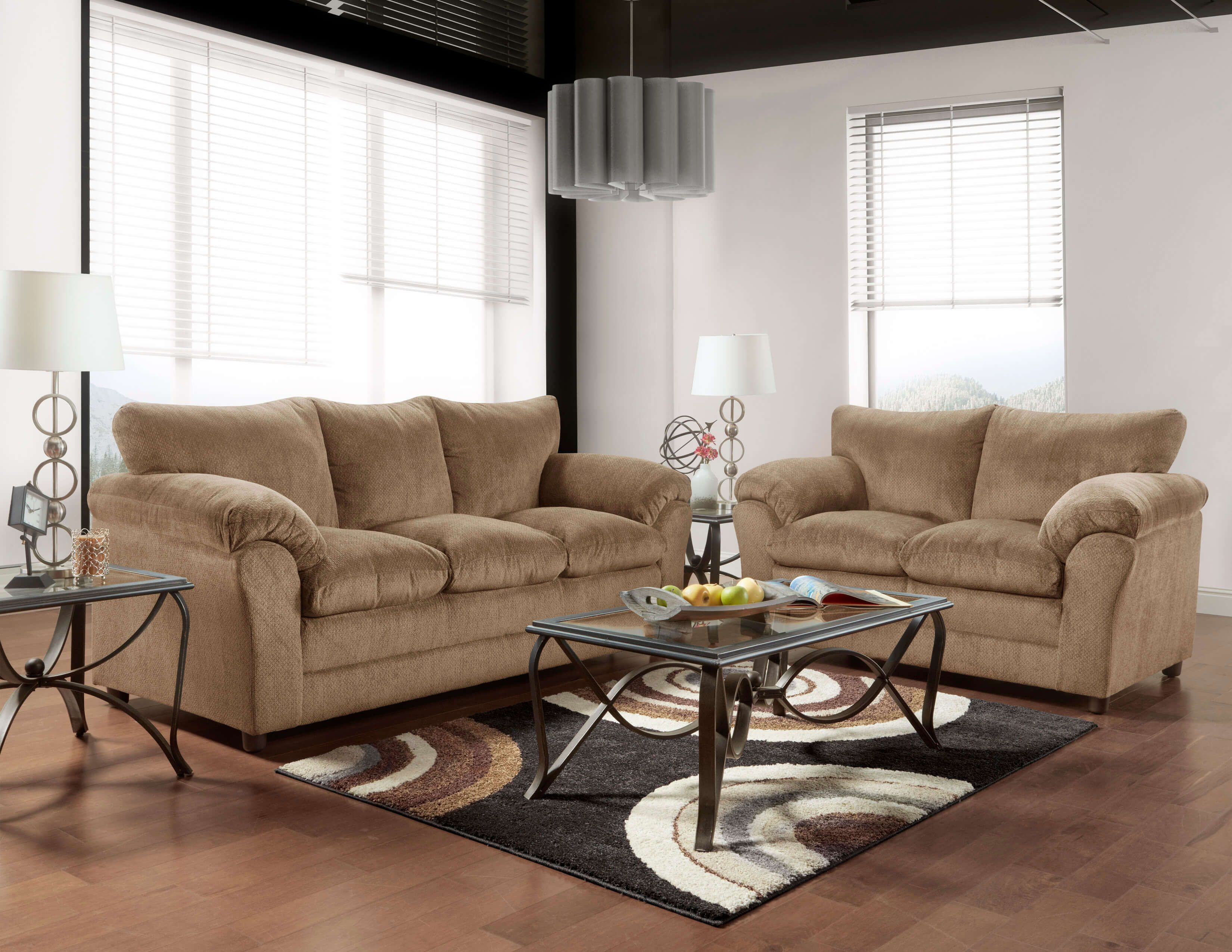 Kelly Bark Sofa And Loveseat Fabric Living Room Sets Sofa And