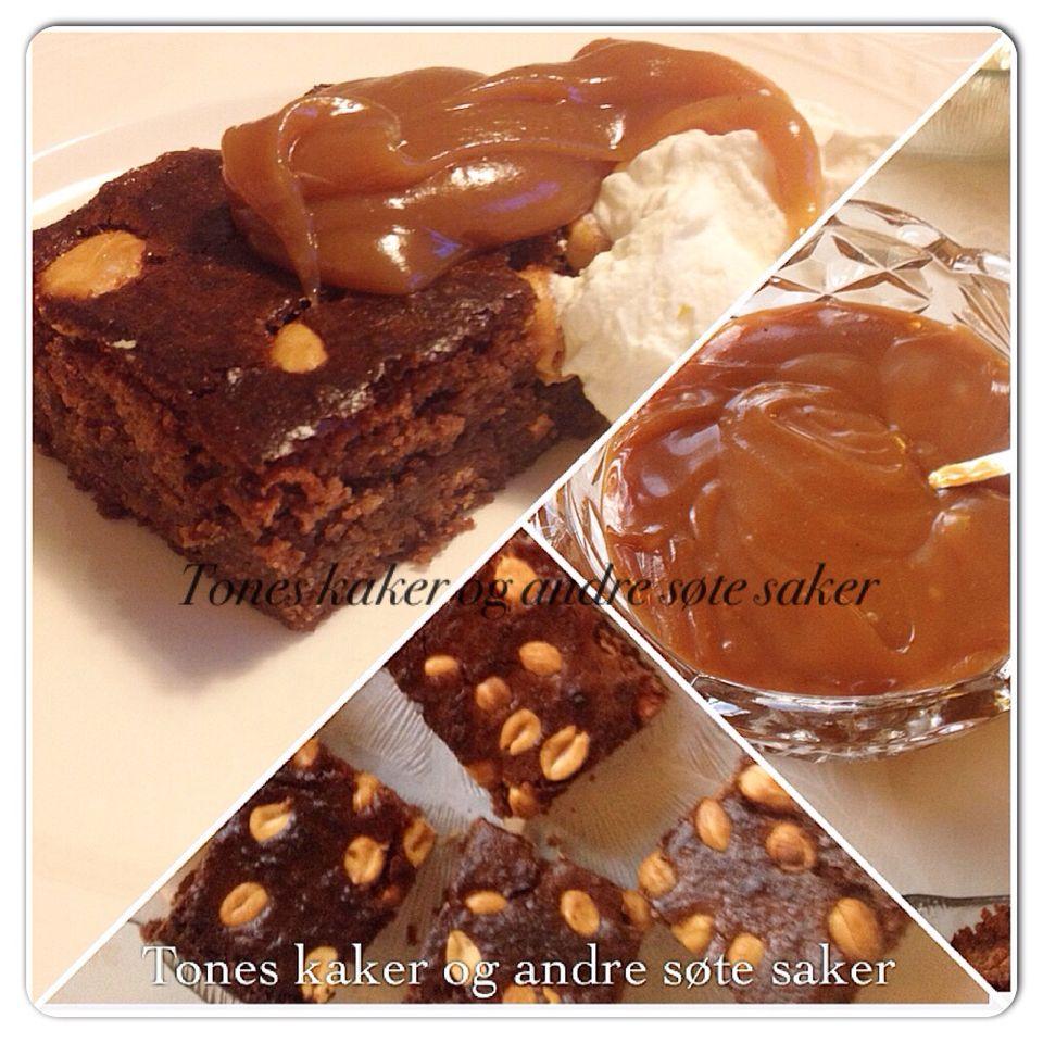 Brownies til familieselskap. Med salt karamell. Brownies with salty peanuts and caramel. Tones kaker og andre søte saker.