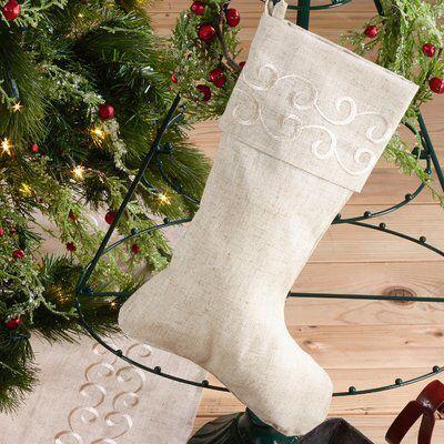Wayfair Embroidered Swirl Christmas Stocking Beautiful Winter