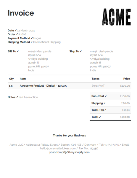 Invoice template for Shopify\'s Order Printer | Templates for ...
