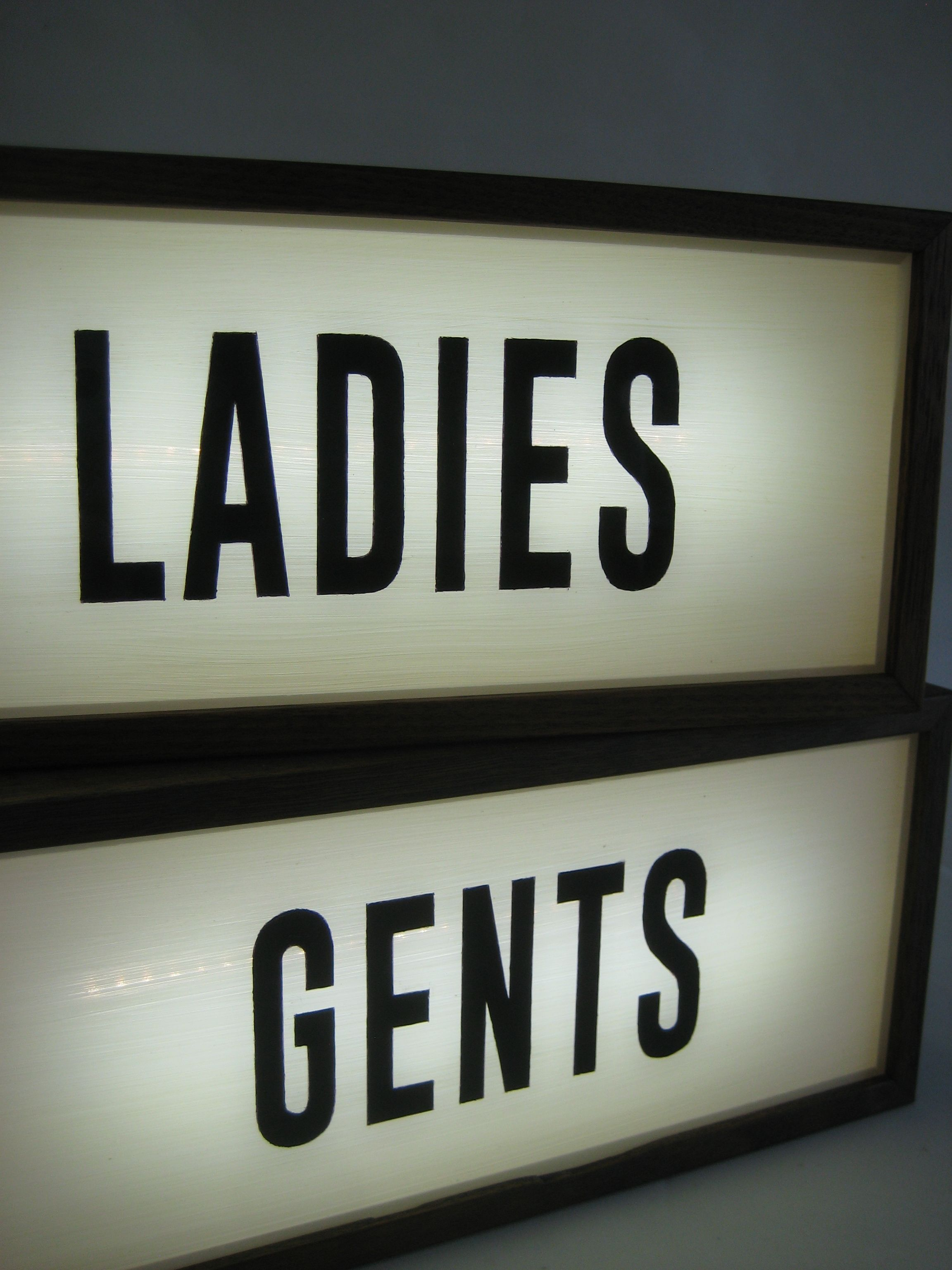 Set Of Gents And Ladies Toilet Sign Retro Vintage Lighted Hand Painted Signs In Back Lit Led Wooden Light Box Illuminat Light Box Sign Wooden Light Light Box