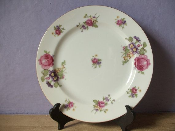 antique salad plate pink cabbage rose Sango by ShoponSherman, $9.00