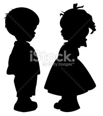 Silhouettes Des Enfants Silhouette Enfant Pochoir