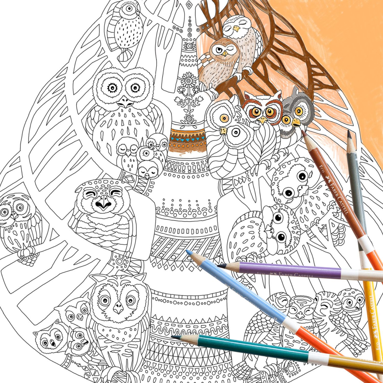 zen colouring cats : Coloring Page Instant Download Owl Tree Adult Coloring Page Bird Owl Owlet Family Tree Nature Forest Adult Coloring Book