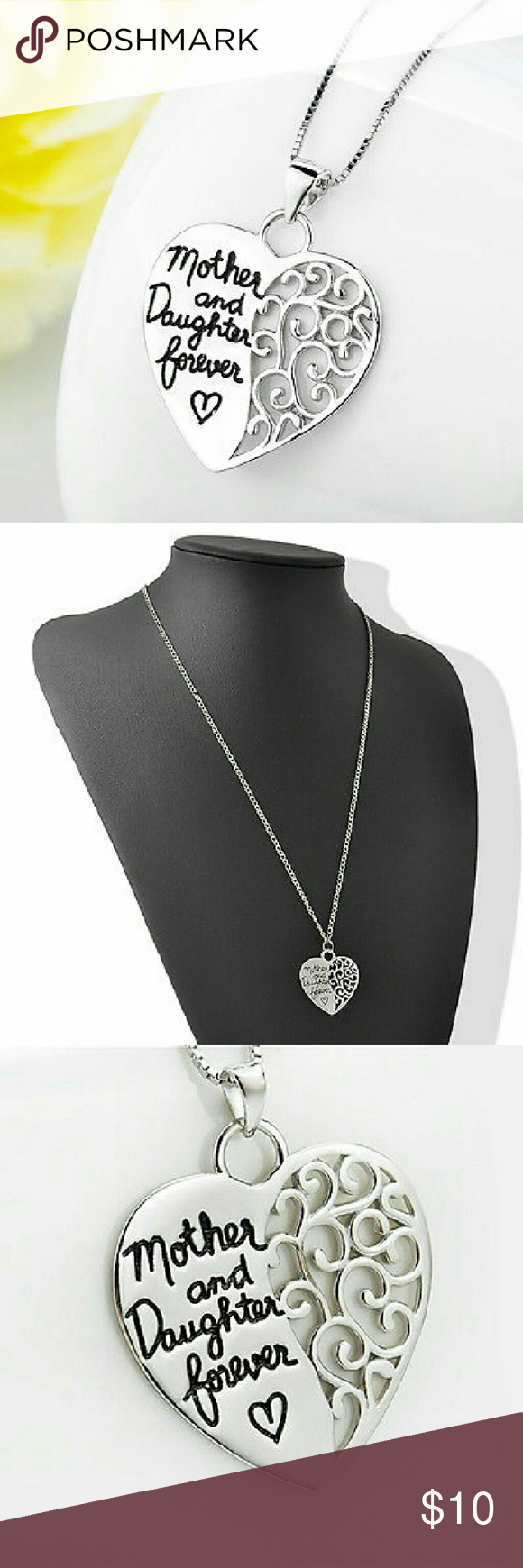 "SOLD! ENGRAVED MOTHER DAUGHTER HEART NECKLACE Beautiful long sweater chain engraved in black script"" mother and daughter forever"" steel heart hollow design pendant necklace!!! Jewelry Necklaces"