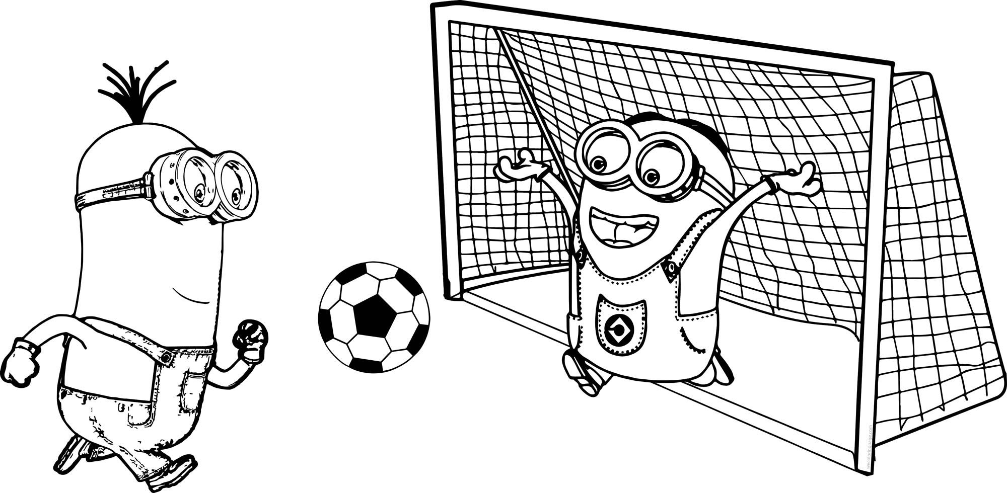 Cool Minion Kevin And Dave Playing Soccer Picture Coloring Page