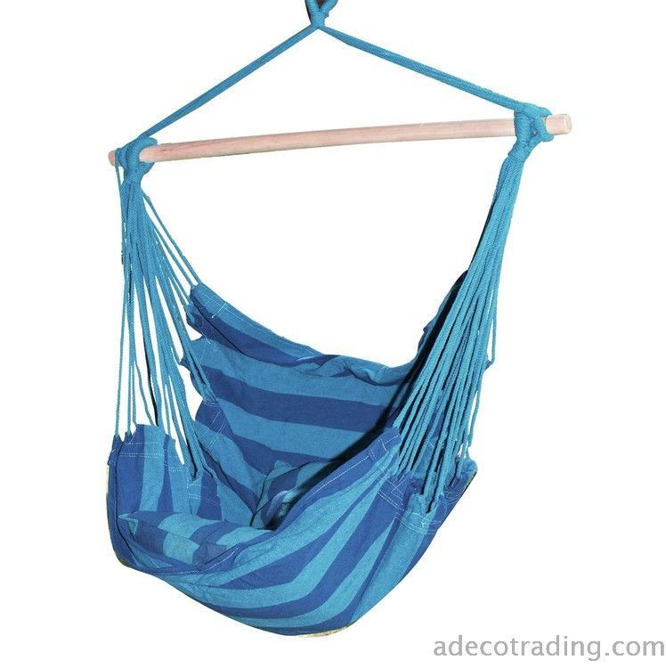 Naval Style Cotton Fabric Canvas Hammock Tree Hanging Suspended Outdoor  Indoor Chair Royal Blue Color