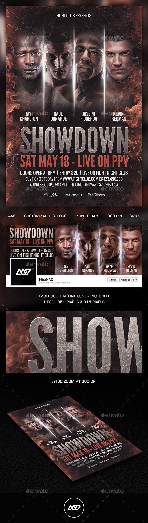 Showdown Fight Night PSD Flyer Template – Showdown Flyer Template