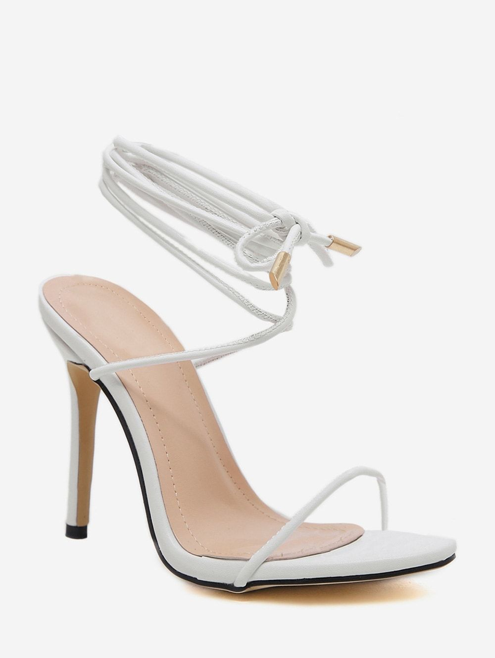 Rope Lace Up High Heel Sandals Apricot Black White Ad High Heel Rope Lace Black Lace Up High Heels Ankle Strap High Heels Gladiator Sandals Heels
