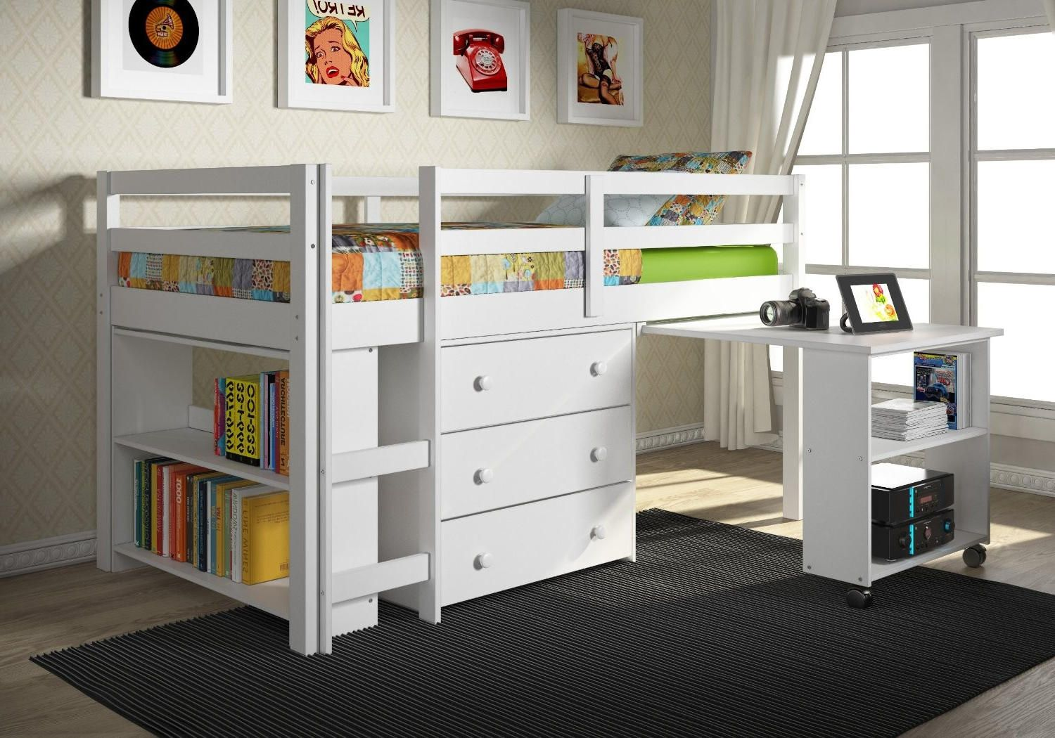 Full Size Bunk Beds with Desk Popular Interior Paint