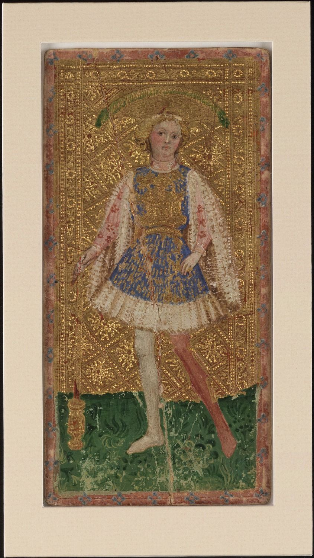 Bonifacio Bembo Male Page of Batons Cary-Yale Visconti tarot