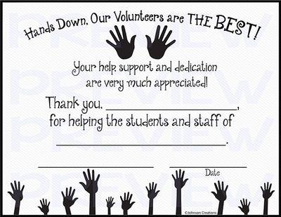 Hands Down, Our Volunteers are THE BEST! Certificate Classroom - best of certificates of appreciation wording