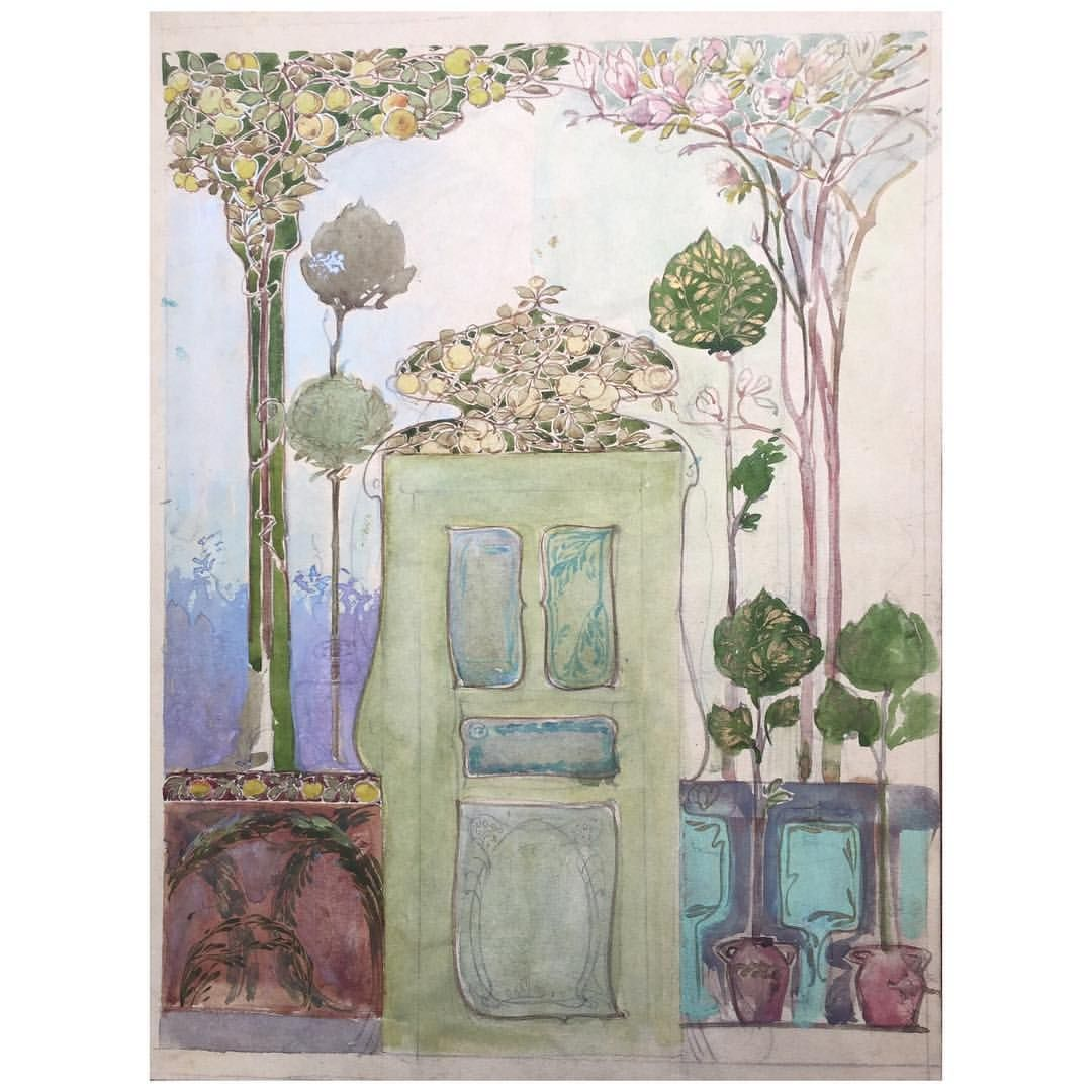 Epoque Art Nouveau C 1900 Aquarelle Originale Disponible