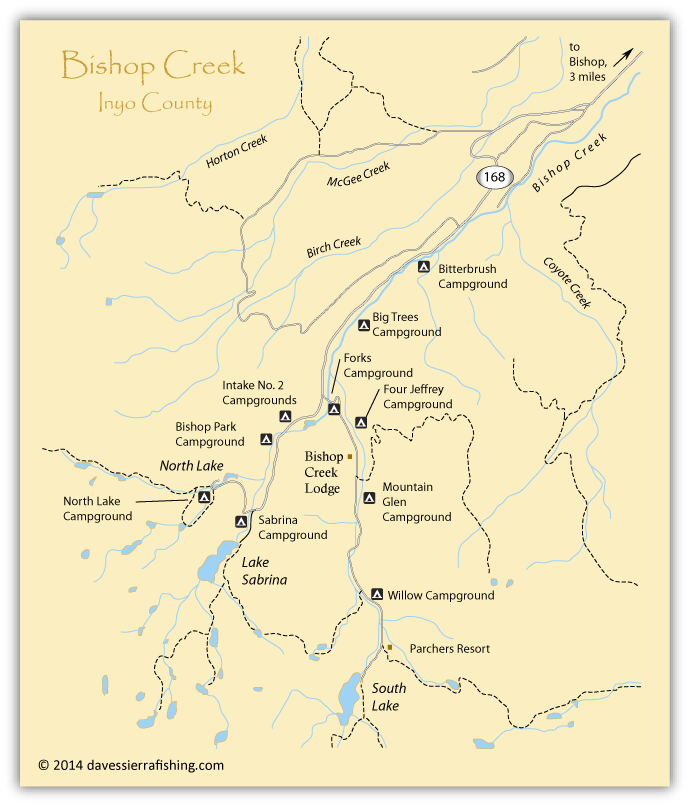 Map of the bishop creek area inyo county ca california for Bishop ca fishing