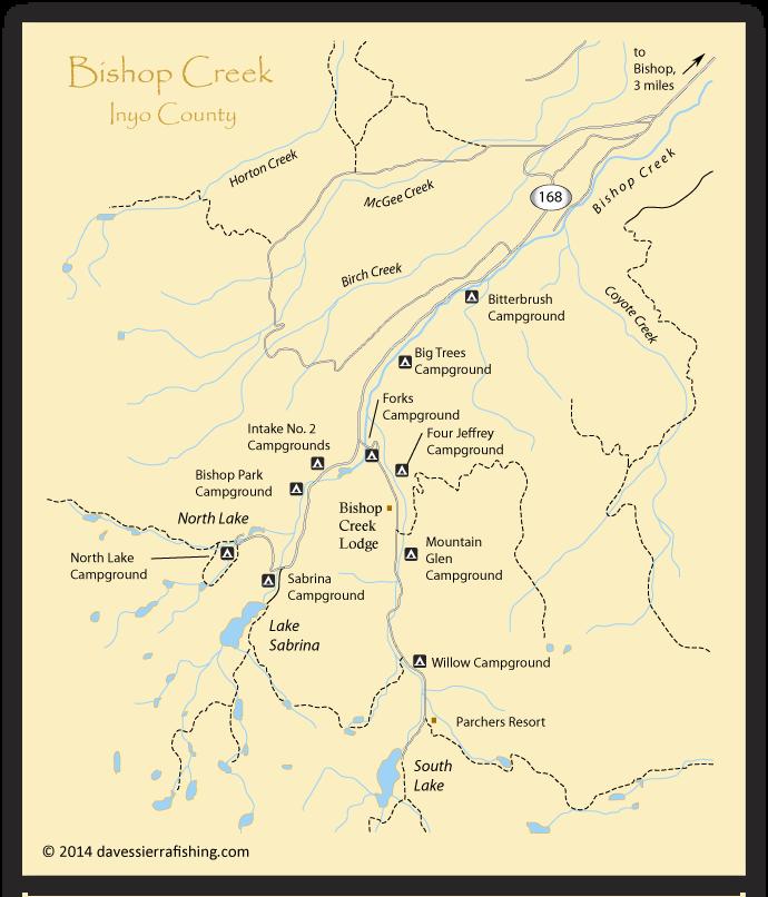 Map of the bishop creek area inyo county ca california for Bishop creek fishing