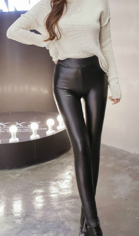 Thicken Cotton Padded Slim PU Leather Pants