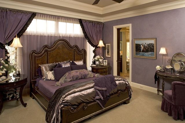 : Traditional Ideas For Bedroom Decor With Purple Curtain And Bedcover Also That Cream Fur Rug Complete The Area